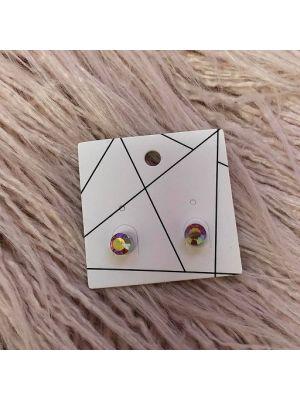 Pierced Earrings - Pink Diamante