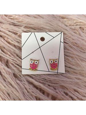 Pierced Earrings - Pink Owl