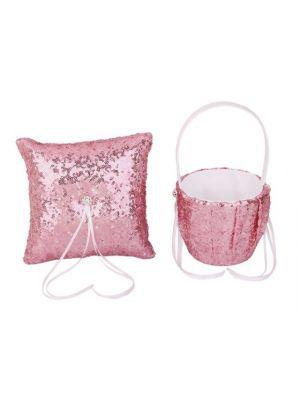 Flower Basket/Ring Pillow - Sequin - Pink