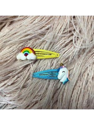 Unicorn Hair Clip Set - Blue (2pc)
