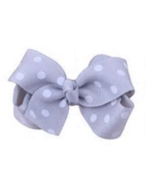 Mini Polkadot Bow Hair Clips - Grey