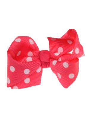 Mini Polkadot Bow Hair Clips - Hot Pink