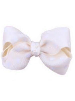 Mini Polkadot Bow Hair Clips - Ivory