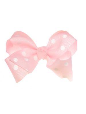 Mini Polkadot Bow Hair Clips - Light Pink