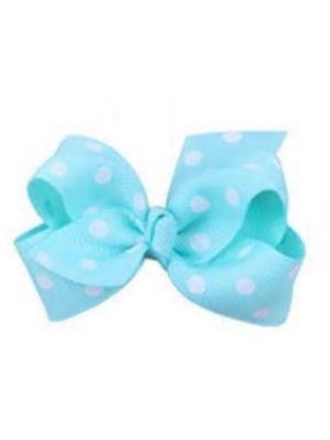 Mini Polkadot Bow Hair Clips - Mint