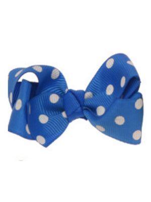 Mini Polkadot Bow Hair Clips - Royal Blue