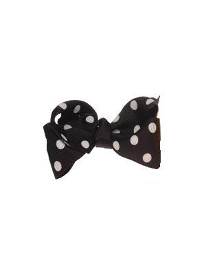 Mini Polkadot Bow Hair Clips - Black