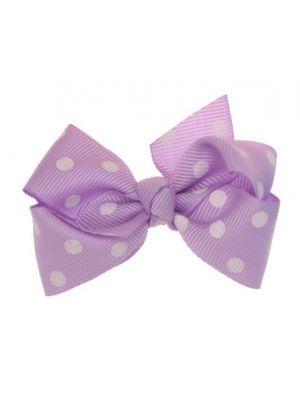 Mini Polkadot Bow Hair Clips - Lavender