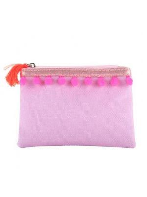 Pink Poppy Pom Pom Coin Purse - Lilac