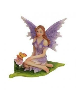 6cm Sitting Fairies on Leaf - Purple