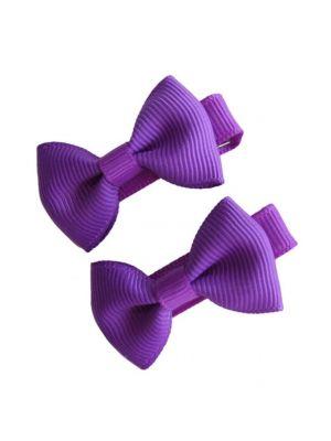 Mini Bow Hair Clips - (2pc) - Purple