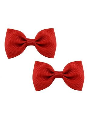 Bow Hair Clips - (2pc) - Red