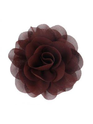 Chiffon Rose - Hair Clips - Brown