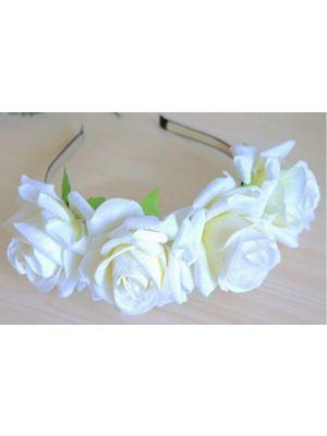 Large Flower Rose Headband - White