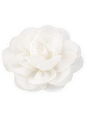 Chiffon Rose - Hair Clips - White