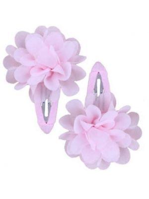 Ruffle Hair Clips (2pc) - Light Pink