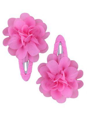 Ruffle Hair Clips (2pc) - Pink