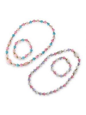 Pink Poppy Pastel Star Necklace and Bracelet Set