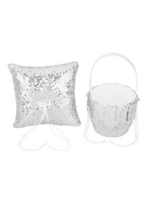 Flower Basket/Ring Pillow - Sequin - Silver