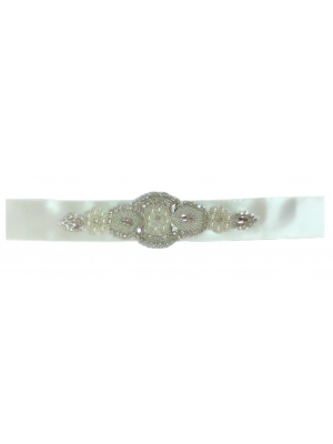 Satin Rhinestone Belt - Ivory