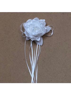 Flower with Ribbon - White