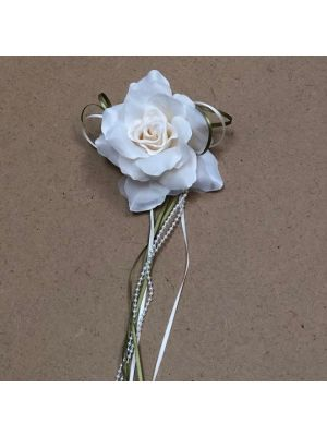 Flower with Ribbon - Ivory