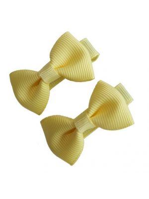 Mini Bow Hair Clips - (2pc) - Yellow